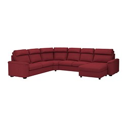 LIDHULT corner sofa-bed, 6-seat, with chaise longue, Lejde red/brown red-brown