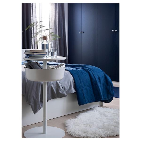 LIERSKOGEN طاولة سرير جانبية, أبيض, 42x74 سم