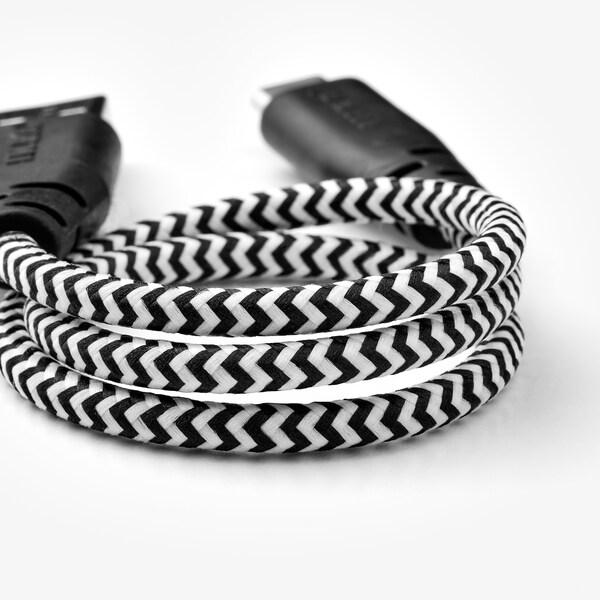 LILLHULT USB type C to USB cord black/white 0.40 m