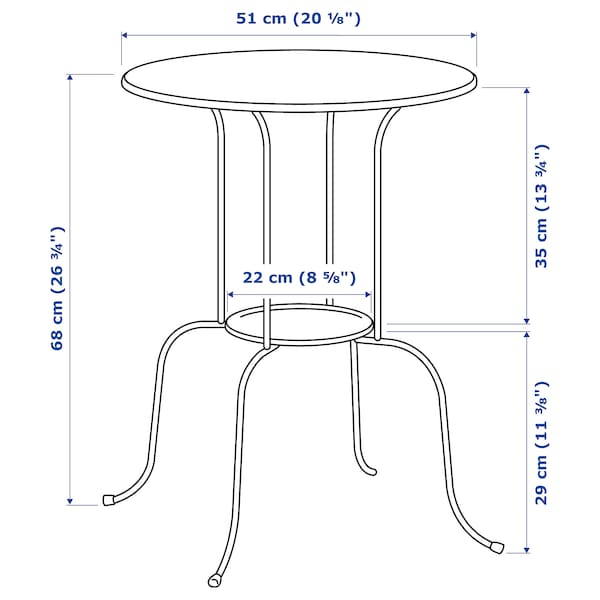 LINDVED side table white 68 cm 50 cm