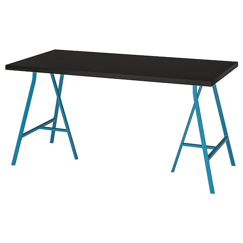 LINNMON / LERBERG table black-brown/blue 150 cm 75 cm 74 cm 50 kg
