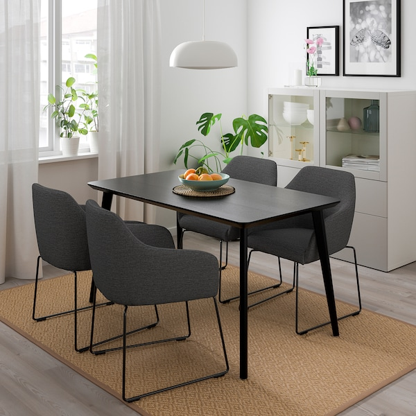 LISABO / TOSSBERG Table and 4 chairs, metal grey/black, 140x78 cm