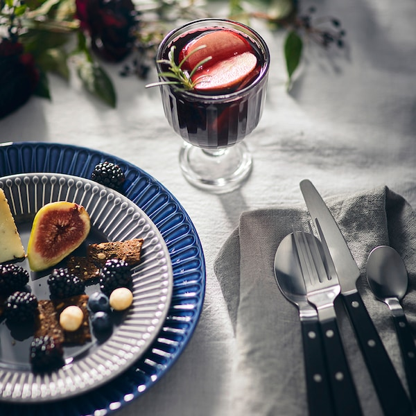 LIVNÄRA 24-piece cutlery set, black