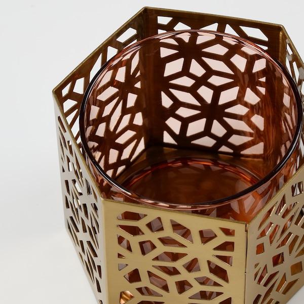 LJUV tealight holder gold-colour 10 cm 9 cm 8 cm