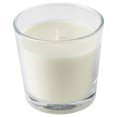 LJUVARE Scented candle in glass, Oud/light beige, 7.5 cm