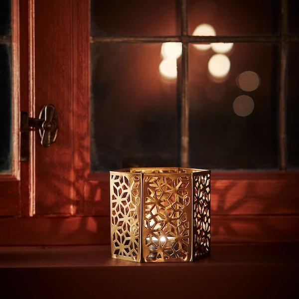 LJUVARE Tealight holder, gold-colour, 10 cm