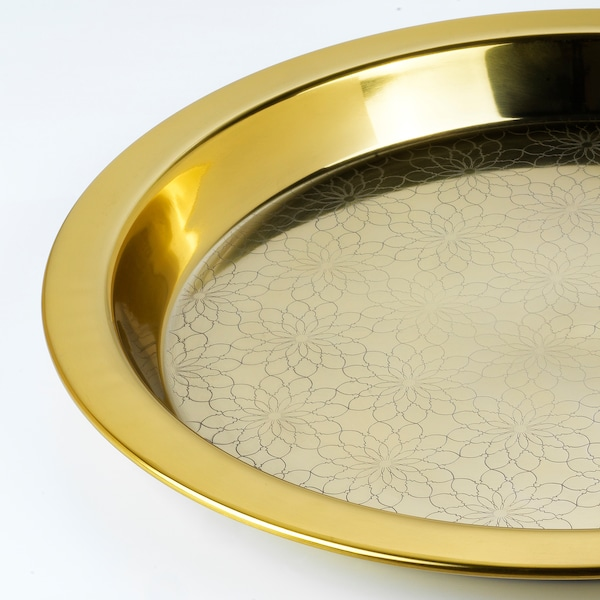 LJUVARE Tray, gold-colour, 45 cm