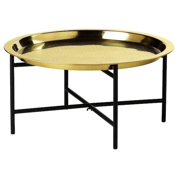 LJUVARE طاولة بصينية, أسود/لون ذهبي, 65x32 سم