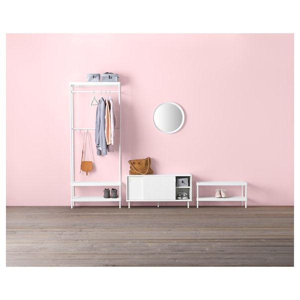 MACKAPÄR Bench with storage compartments, white, 100x51 cm