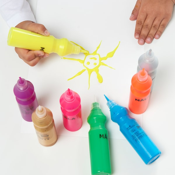 MÅLA Fluorescent/glitter paint, mixed colours