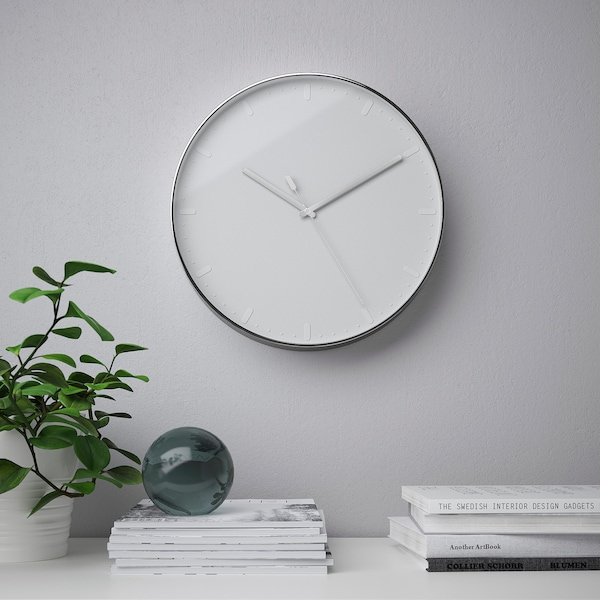 MALLHOPPA Wall clock, silver-colour, 35 cm