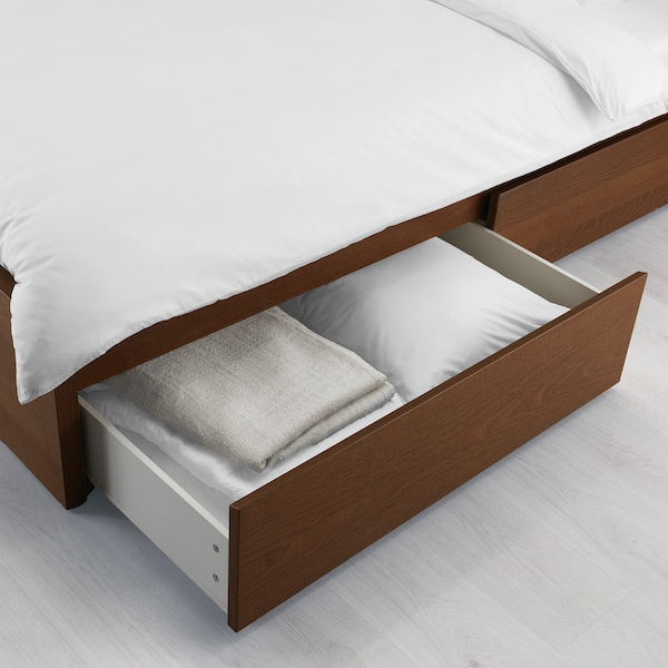 MALM bed frame, high, w 2 storage boxes brown stained ash veneer/Leirsund 15 cm 209 cm 105 cm 97 cm 59 cm 38 cm 100 cm 200 cm 90 cm 100 cm