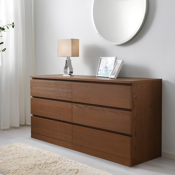 MALM Chest of 6 drawers, brown stained ash veneer, 160x78 cm