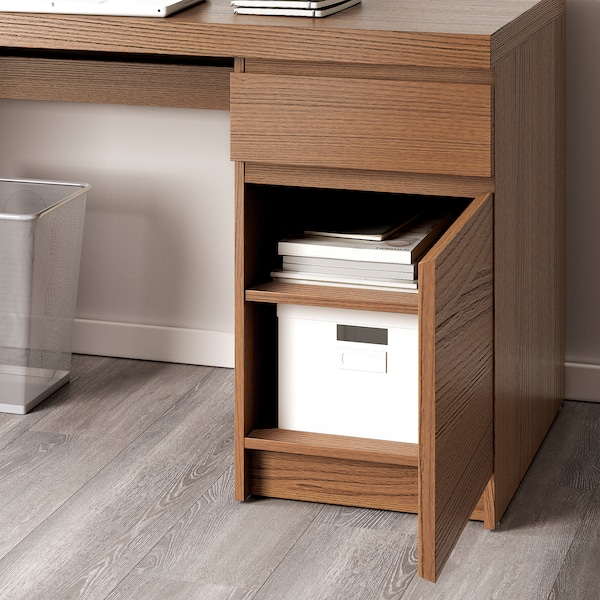 MALM Desk, brown stained ash veneer, 140x65 cm