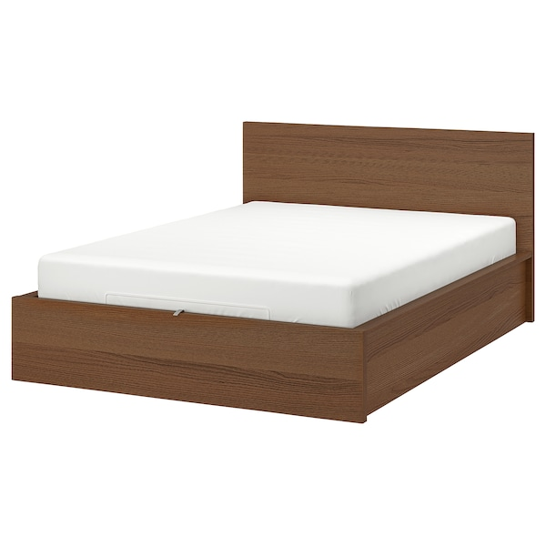 Malm Ottoman Bed Brown Stained Ash Veneer Ikea