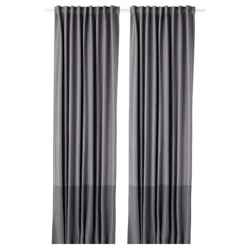 MARJUN block-out curtains, 1 pair grey 300 cm 145 cm 2.70 kg 4.35 m² 2 pack