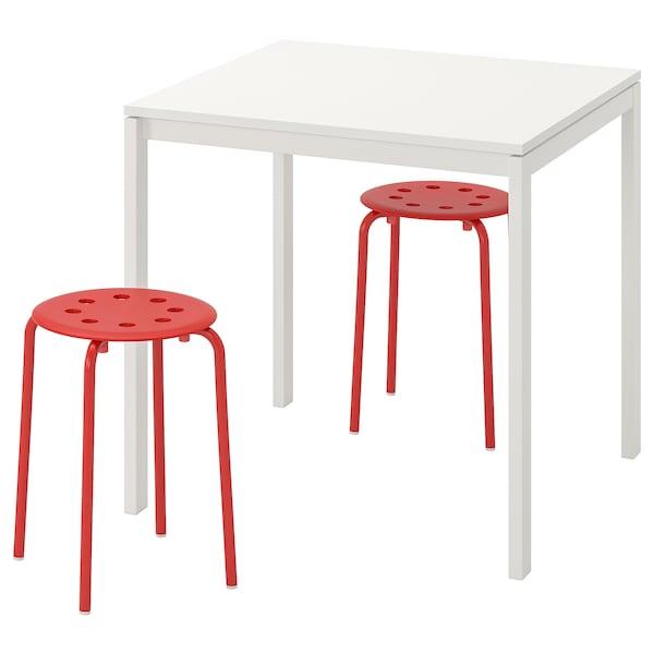 MELLTORP / MARIUS طاولة ومقعدين, أبيض/أحمر, 75 سم