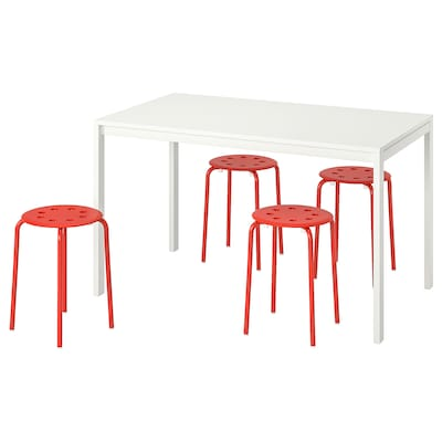 MELLTORP / MARIUS Table and 4 stools, white/red, 125 cm