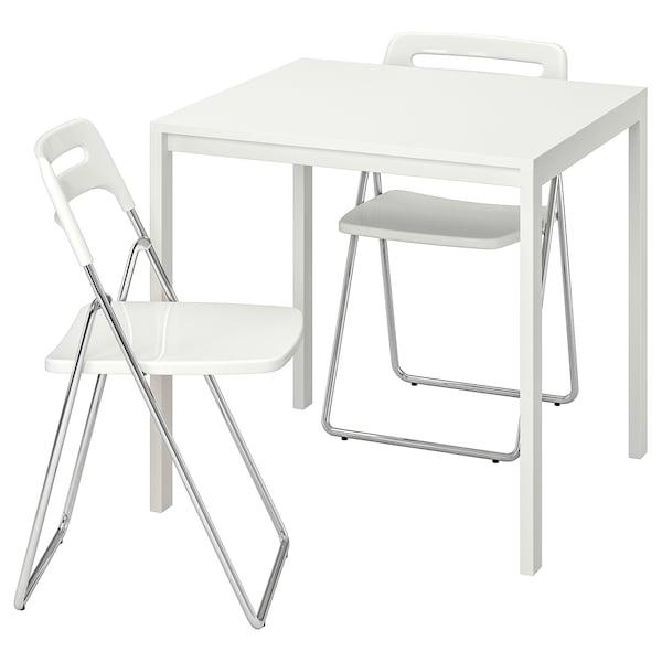 MELLTORP / NISSE طاولة و عدد 2 كرسي يطوى, أبيض/أبيض, 75 سم