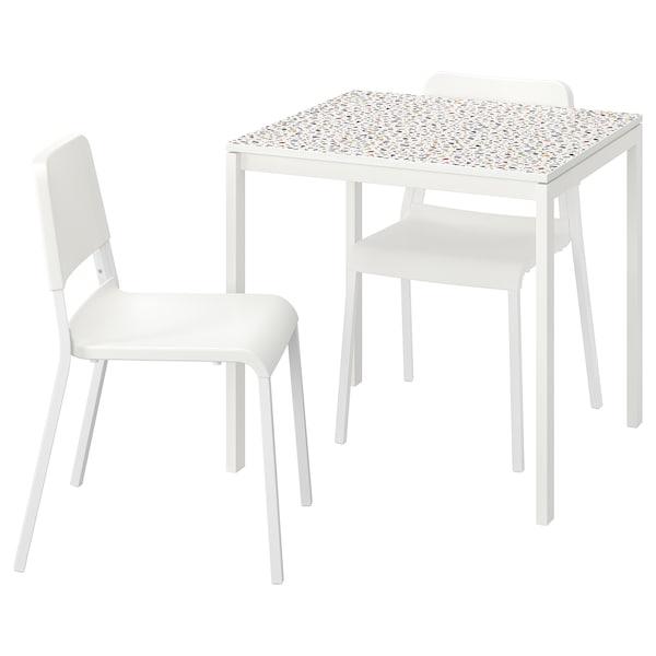 MELLTORP / TEODORES طاولة وكرسيان, نقش فسيفساء أبيض/أبيض, 75x75 سم