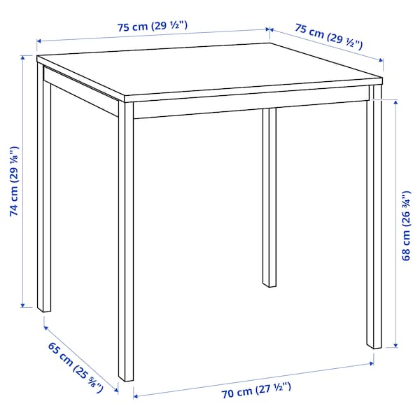 MELLTORP / TEODORES طاولة وكرسيان, أبيض/أبيض, 75x75 سم