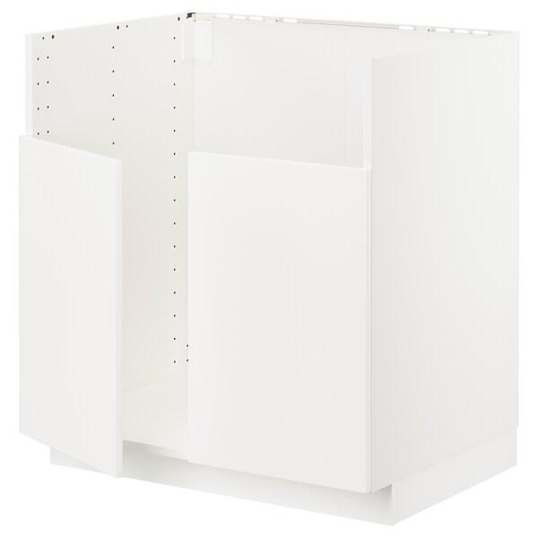 METOD Base cab f BREDSJÖN dbl bowl sink, white/Veddinge white, 80x60 cm