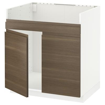 METOD Base cab f HAVSEN double bowl sink, white/Voxtorp walnut effect, 80x60 cm