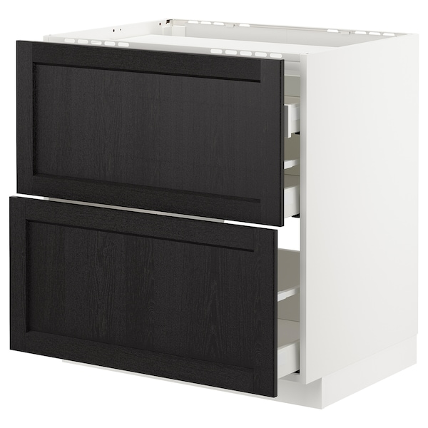 METOD Base cab f hob/2 fronts/3 drawers, white/Lerhyttan black stained, 80x60 cm