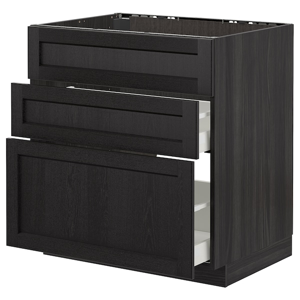 METOD Base cab f sink+3 fronts/2 drawers, black/Lerhyttan black stained, 80x60 cm