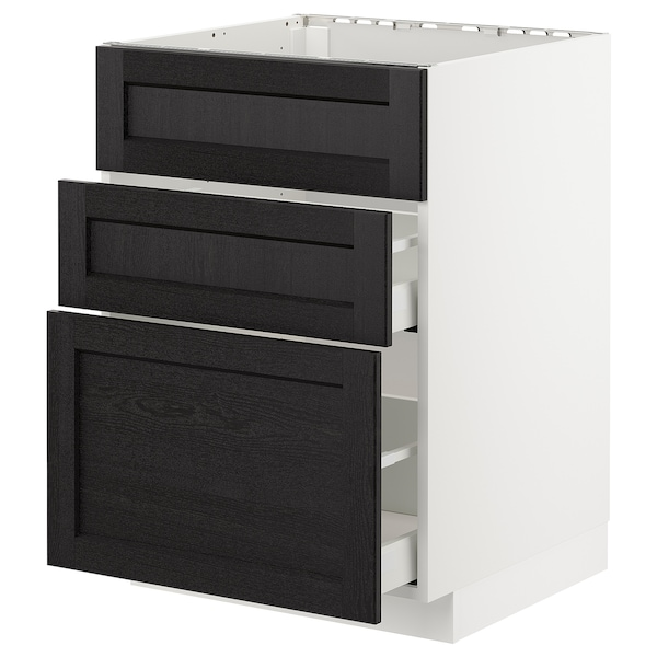 METOD Base cab f sink+3 fronts/2 drawers, white/Lerhyttan black stained, 60x60 cm