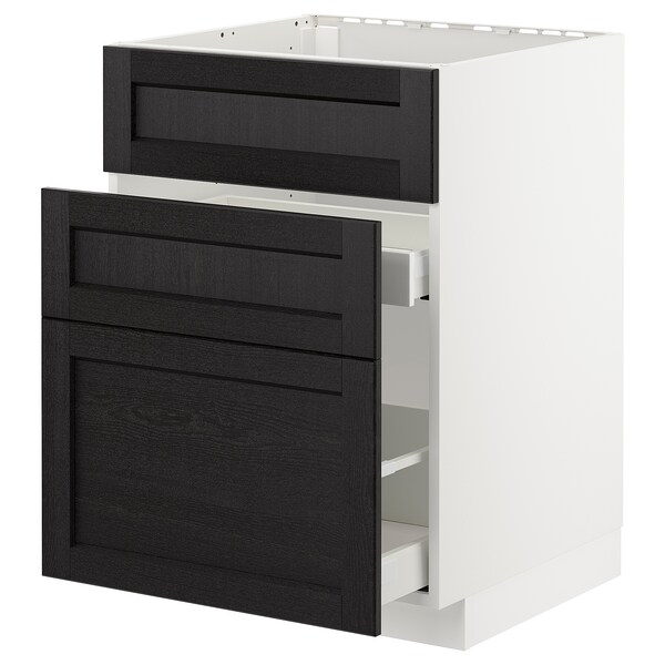 METOD base cab f sink+3 fronts/2 drawers white/Lerhyttan black stained 60.0 cm 61.9 cm 88.0 cm 60.0 cm 80.0 cm