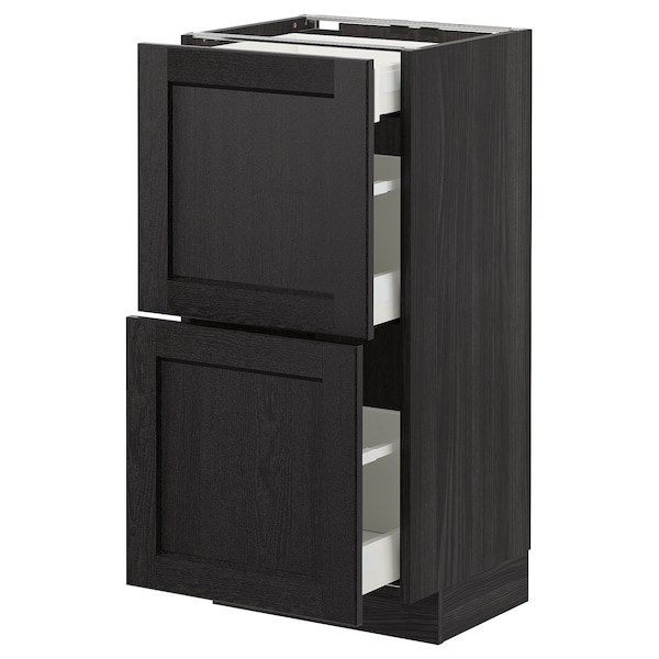 METOD Base cab with 2 fronts/3 drawers, black/Lerhyttan black stained, 40x37 cm