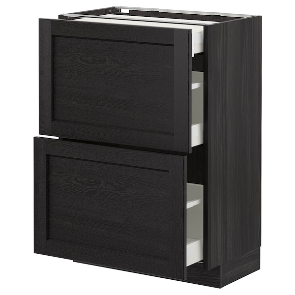 METOD Base cab with 2 fronts/3 drawers, black/Lerhyttan black stained, 60x37 cm