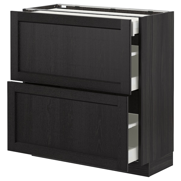 METOD base cab with 2 fronts/3 drawers black/Lerhyttan black stained 80.0 cm 39.5 cm 88.0 cm 37.0 cm 80.0 cm