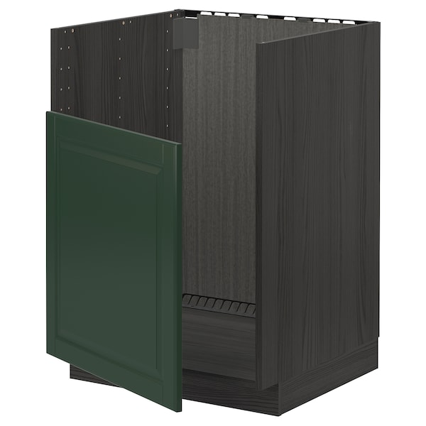 METOD Base cabinet f BREDSJÖN sink, black/Bodbyn dark green, 60x60 cm