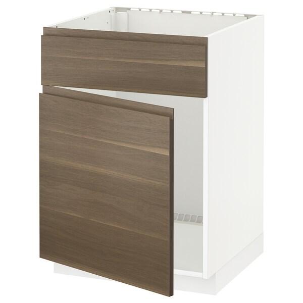 METOD Base cabinet f sink w door/front, white/Voxtorp walnut effect, 60x60 cm