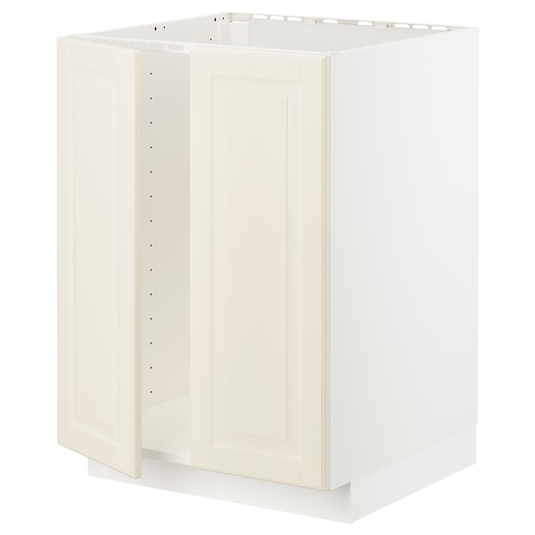 METOD خزانة قاعدة للحوض + بابين, أبيض/Bodbyn أبيض-عاجي, 60x60 سم