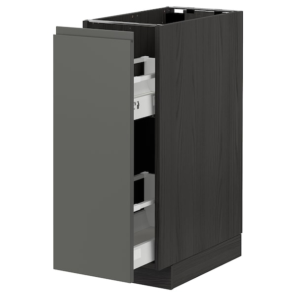 METOD Base cabinet/pull-out int fittings, black/Voxtorp dark grey, 30x60 cm