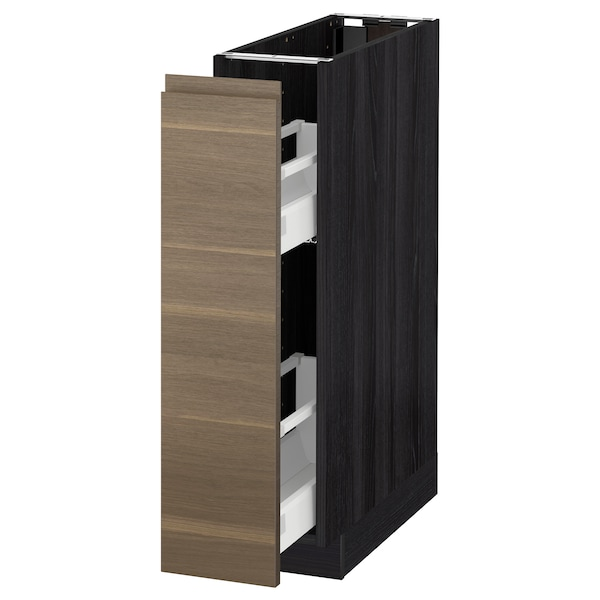 METOD Base cabinet/pull-out int fittings, black/Voxtorp walnut, 20x60 cm