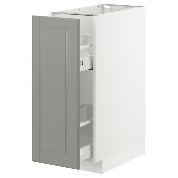 METOD Base cabinet/pull-out int fittings, white/Bodbyn grey, 30x60 cm