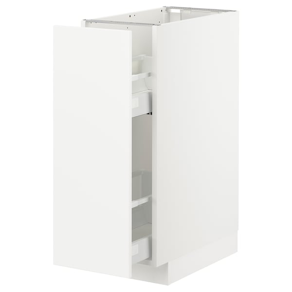 METOD Base cabinet/pull-out int fittings, white/Veddinge white, 30x60 cm