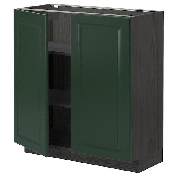 METOD Base cabinet with shelves/2 doors, black/Bodbyn dark green, 80x37 cm