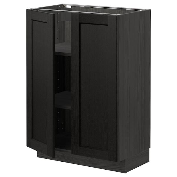 METOD Base cabinet with shelves/2 doors, black/Lerhyttan black stained, 60x37 cm