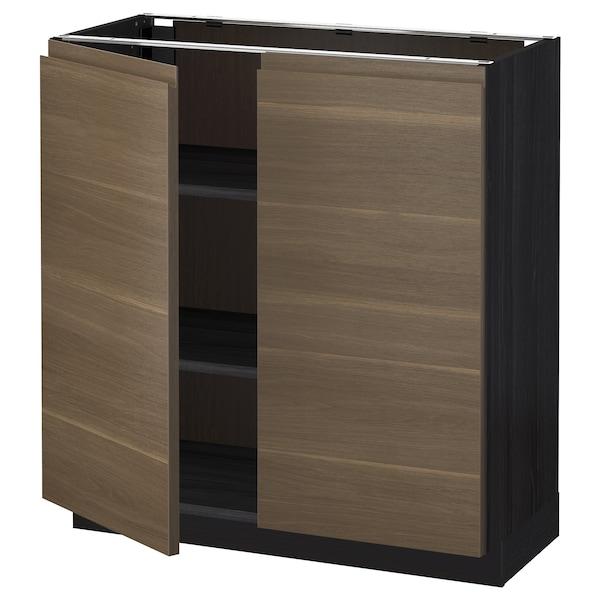 METOD Base cabinet with shelves/2 doors, black/Voxtorp walnut effect, 80x37 cm