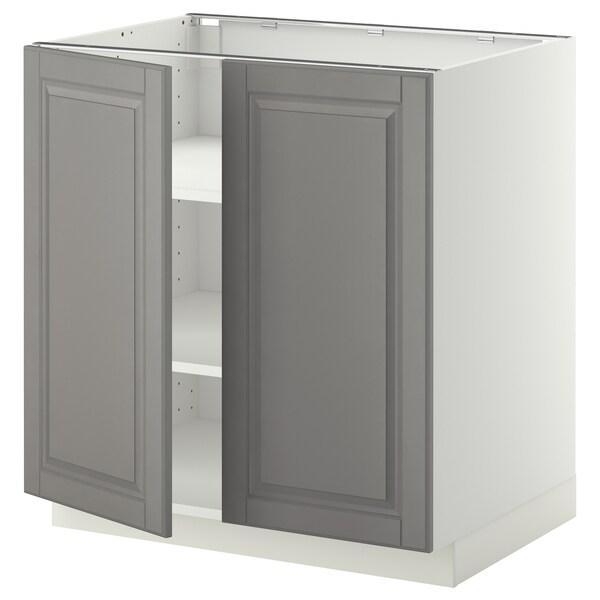 METOD خزانة قاعدة مع أرفف/بابين, أبيض/Bodbyn رمادي, 80x60 سم