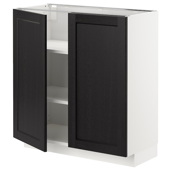 METOD Base cabinet with shelves/2 doors, white/Lerhyttan black stained, 80x37 cm