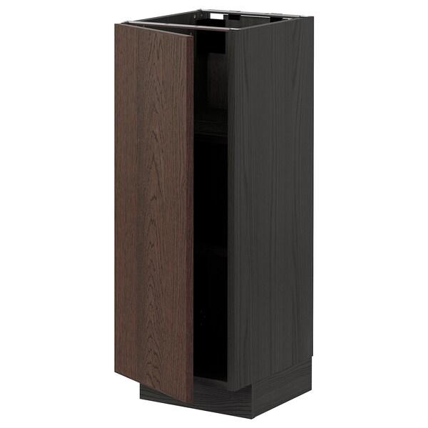 METOD خزانة قاعدة مع أرفف, أسود/Sinarp بني, 30x37 سم