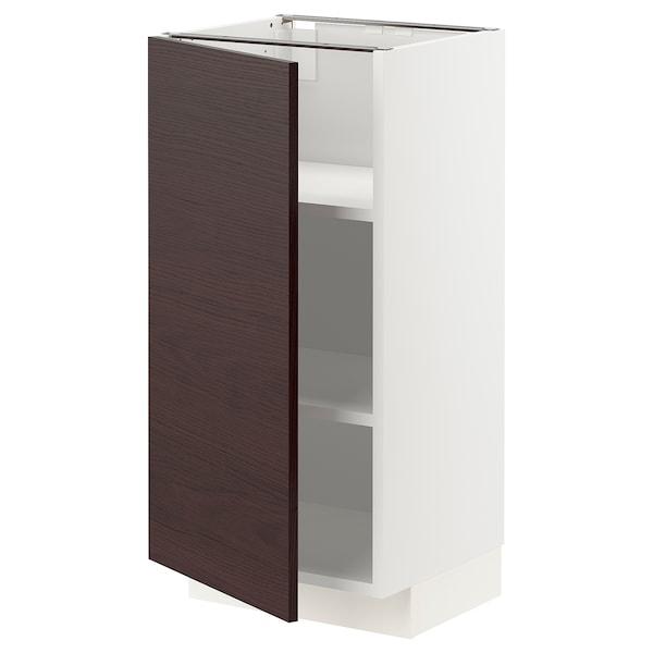 METOD Base cabinet with shelves, white Askersund/dark brown ash effect, 40x37 cm