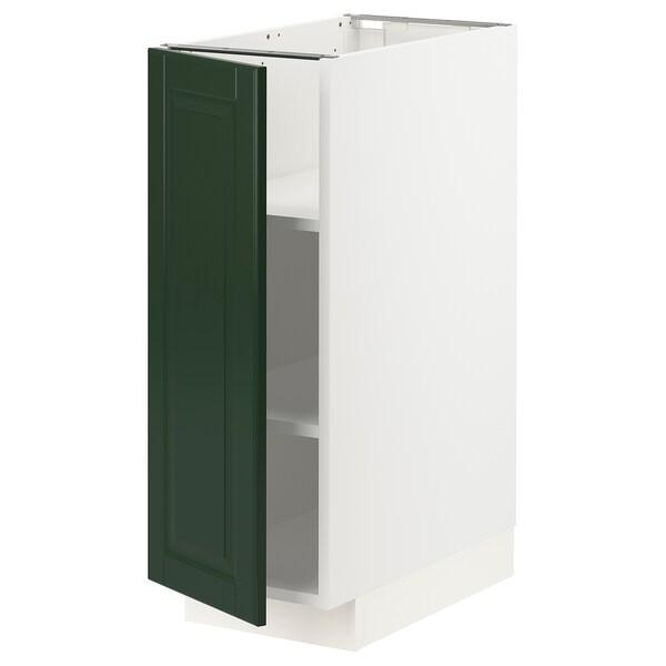 METOD خزانة قاعدة مع أرفف, أبيض/Bodbyn أخضر غامق, 30x60 سم