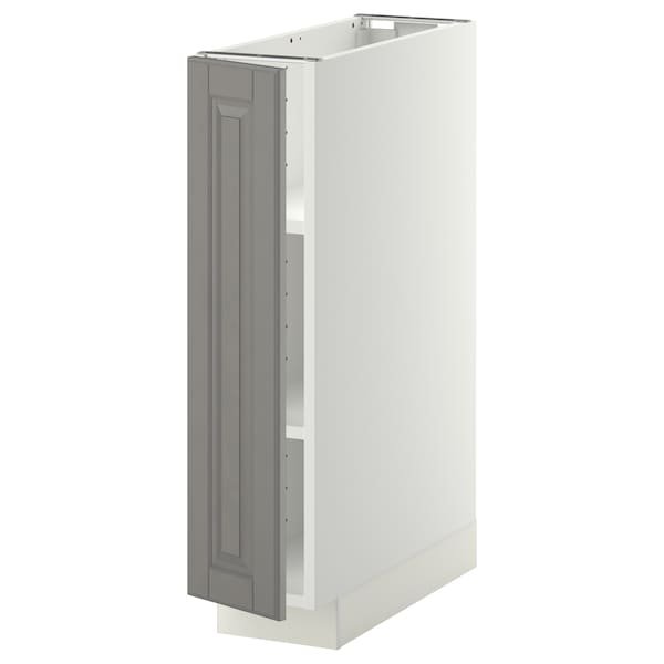 METOD Base cabinet with shelves, white/Bodbyn grey, 20x60 cm
